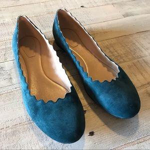 Chloe Lauren Scalloped Ballet Flats Suede Size 39
